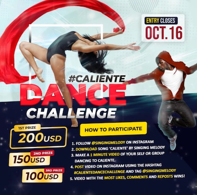 WIN US$200 in online dance contest for hot new Singing Melody song, 'Caliente'