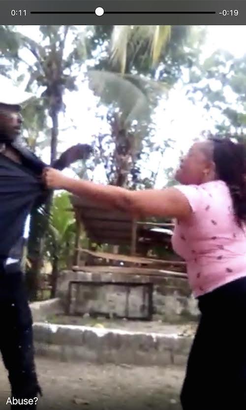 Woman beats man with machete
